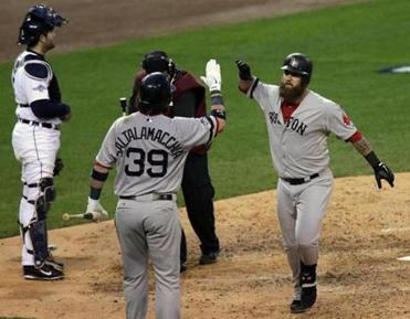 Jarrod Saltalamacchia congratulated Mike Napoli after his game-deciding home run.